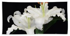 Beach Towel featuring the photograph White  Lilies by Jeannie Rhode