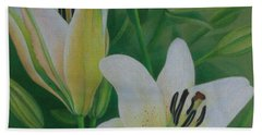 Beach Towel featuring the painting White Lily by Pamela Clements