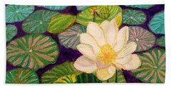 White Lotus Flower Beach Towel