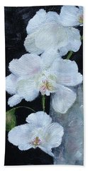 Beach Towel featuring the painting White Orchid by Judith Rhue
