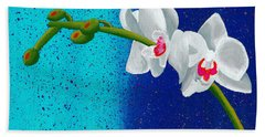 Beach Towel featuring the painting White Orchids On Blue by Laura Forde