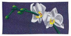 Beach Towel featuring the painting White Orchids On Dark Blue by Laura Forde
