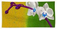 White Orchids On Yellow And Green Beach Towel by Laura Forde