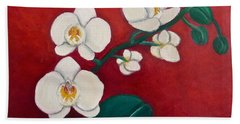 Beach Sheet featuring the painting White Orchids by Victoria Lakes