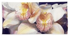 White Orchids Watercolor Beach Towel