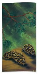 White Pine  And Cones Beach Towel