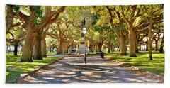 White Point Gardens At Battery Park Charleston Sc Hdr Beach Towel