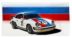 White Porsche 911 Beach Sheet