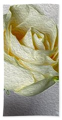 Beach Towel featuring the photograph White Rose In Oil Effect by Nina Silver