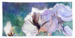 Beach Towel featuring the painting White Roses In The Shade by Greta Corens