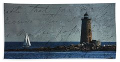 White Sails On Blue  Beach Towel by Jeff Folger