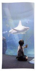 White Shark And Young Boy Beach Sheet