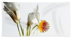 White Sparmannia Africana Plant. Beach Towel