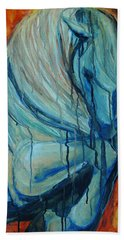 Beach Towel featuring the painting White Stallion by Jani Freimann
