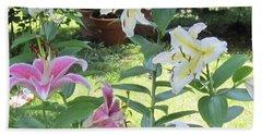 White Stargazers Lilies Beach Towel