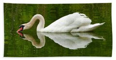 Beach Sheet featuring the photograph Graceful White Swan Heart  by Jerry Cowart