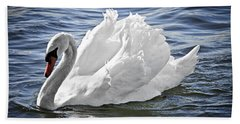 White Swan On Water Beach Towel