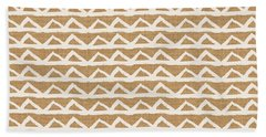 White Triangles On Burlap Beach Towel