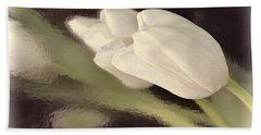 White Tulip Reflected In Misty Water Beach Towel