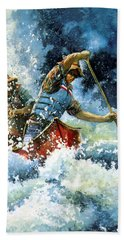 Beach Towel featuring the painting White Water by Hanne Lore Koehler