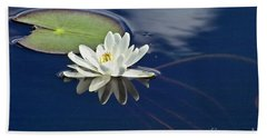 Beach Towel featuring the photograph White Water Lily by Heiko Koehrer-Wagner