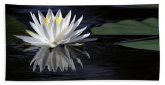 White Water Lily Left Beach Towel