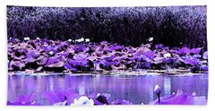 Beach Towel featuring the photograph White Water Lotus In Violet by Shawna Rowe