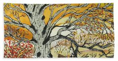Beach Towel featuring the painting Whitetails And White Oak Tree by Jeffrey Koss