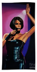 Whitney Houston On Stage Beach Towel by Paul Meijering