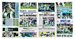 Who Dat Headlines Beach Towel by Benjamin Yeager