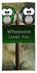 Whoooo Loves You  Beach Sheet