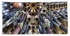 Wide Panorama Of The Interior Ceiling Of Sagrada Familia In Barcelona Beach Sheet