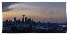 Wide Seattle Morning Skyline Beach Towel