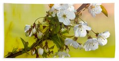 Wild Cherry Blossom Cluster Beach Towel by Jane McIlroy