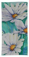 Beach Towel featuring the painting Wild Daisys Two by Chrisann Ellis
