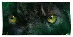 Wild Eyes - Black Panther Beach Sheet by Carol Cavalaris