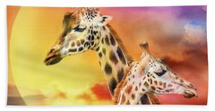 Wild Generations - Giraffes  Beach Towel by Carol Cavalaris