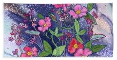 Wild Roses Beach Towel by Teresa Ascone