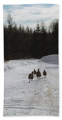 Wild Turkeys Running Beach Towel