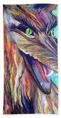 Beach Towel featuring the drawing Wild Wolf by Daniel Janda