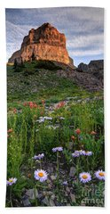 Wildflowers And Timpanogos South Peak At Sunset Beach Towel