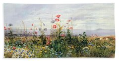 Wildflowers With A View Of Dublin Dunleary Beach Towel by A Nicholl