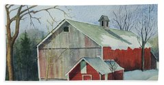 Beach Sheet featuring the painting Williston Barn by Mary Ellen Mueller Legault