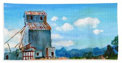 Beach Towel featuring the painting Willow Creek Grain Elevator II by C Sitton