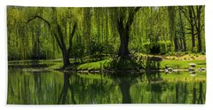 Willows Weep Into Their Reflection  Beach Towel