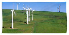 Wind Energy Windmills Along Route 580 Beach Towel