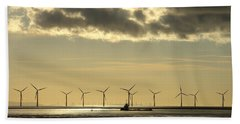 Wind Farm At Sunset Beach Towel