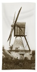 Beach Towel featuring the photograph Wind Mill In France 1900 Historical Photo by California Views Mr Pat Hathaway Archives