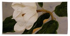 Beach Towel featuring the painting Windblown Magnolia by Nancy Kane Chapman