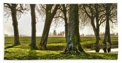 Windmill And Trees In Groningen Beach Towel by Frans Blok